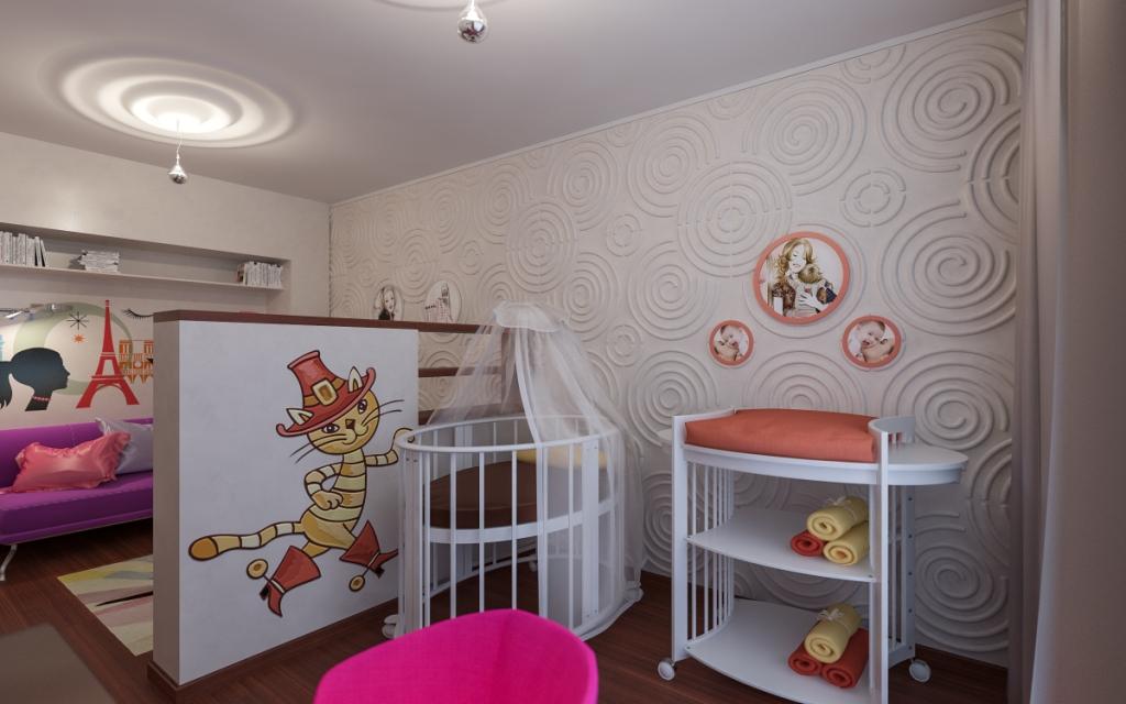 Дизайн 1 комнатной квартиры с детьми