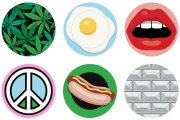 Тарелки BLOW porcelain plates: Weed, Egg, Mouth, Peace, Hot Dog, The Wall