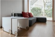 Design coffee tables-nested tables with integrated wheels, Jantsch Gräfe Designobjekte